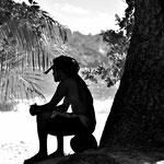 Afrolock an der Anse Lazio auf Praslin, Sechellen