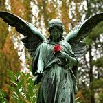 Auf dem Friedhof von Ohlsdorf in herbstlicher Umgebung. jene Ruhestätte ist der größte Parkfriedhof der Welt, und ,man sollte sich viel Zeit nehmen.