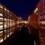 In den Kanälen der Hafencity von Hamburg