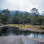 Auf den Bergspitzen kann man den Schnee erkennen, und das im Tasmanischen Sommer.