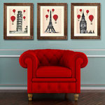 Red Hot Air Balloons 14x11: 3 Reproductions Paris Londres Pise Illustration Affiche de dessin de Digital Print Wall Art Décoration murale Décoration murale