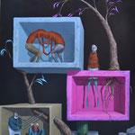 Rapport naturel.     Acrylique sur toile.       81 x 100 cm