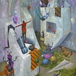 Utopie fraternelle. Acrylique sur toile. 92/73