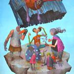 L'envolée de la chute. Acrylique sur toile. 100/73