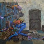 La fièvre et la torture. Acrylique sur toile. 92/65 cm.