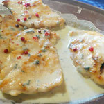 Chicken breast with gorgonzola and pink peppercorns.Photo by L. Cotterill