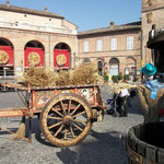 Painted cart once pulled by a donkey, Piazza Risorgimento Amandola
