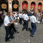 The brass band crossing Piazza Risorgimento, Amandola