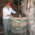 Armando keeping an eye on the flow of juice for the white wine