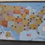 USA Karte mit eingelegten Münzen. Kundenauftrag