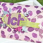 Verpackung mit Designerpapier Poesie der Natur und dem Stempelset Lined Alphabet von Stampin´ Up!