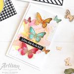 Aquarellkarte mit Schmetterlingen