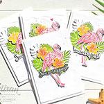 Karten mit Flamingos
