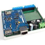 ArduiBox geöffnet, mit Arduino Yun rev 2 und ohne Shield