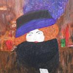 Frau mit Hut und Federboa (Nachahmung Klimt)  50 x 60  CHF 500