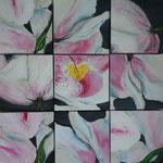Blumenausschnitte  9 Bilder variabel  Acryl auf Leinwand  60 x 60  CHF 550
