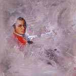 Wolfgang Amadeus Mozart   Collage  Acryl auf Leinwand  40 x 40  CHF 250