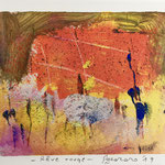 Rêve rouge, 2019, tecnica mista, 10 x 13 cm. (LUGLIO 2019)