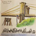 Brooklyn Brigde und Skyline (von Brooklyn aus gesehen)