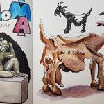 MoMa (Picassos Ziege und weibliche Statue im Innenhof)