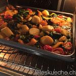 Ab in den Ofen um die Flüssigkeit zu reduzieren