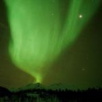 Polarlicht scheint aus dem Berg Sandfjellet emporzusteigen. Øksfjord, Norwegen. 2014 © Robert Hansen. Link in die Fotogalerie