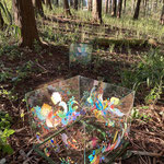 「空っぽ」森の展示室2021  Empty - Exhibition in the woods of wild grass in Wachi 2021 / Acrylic on Glass / 36×36×33cm / 25×25×26cm