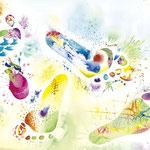 「あしのうら3」Sole-3 / 2020 / Acrylic on Paper / 42×29.7cm