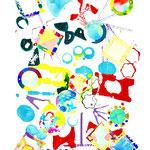 「かたち」The Shape / 2019 / Poster color on Paper / 38.2×54.2cm