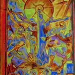 Virgen del Pilar de Pablo Serrano (óleo sobre lienzo), 40x80