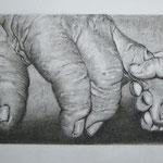 Manos – Lápiz de carbón Conté