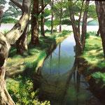 Primavera en el río.- Oleo sobre lienzo.- 33x46