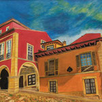 Calle de Galiana (Avilés) (óleo sobre tabla), 100 x 40