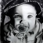 Retrato Scarlet - carbón sobre papel  - 50x60