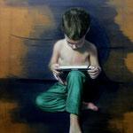 Alex jugando con la tablet - óleo sobre lienzo - 50x70