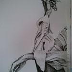Uvas –Tinta a plumilla en papel canson – 32.5x46