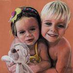 Clara y Tomás (pastel sobre papel Canson), 50 x 50