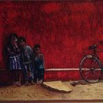 NIÑOS AFRICA - OLEO SOBRE LIENZ0 - 54X80