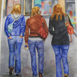 Tarde de chicas – Acuarela en papel Guarro – 61X50