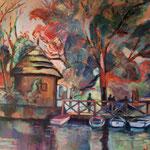 El embarcadero del lago – Acrílico – 50x60