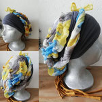 36 grijze band, blauw geel bloemmotief