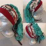 10 donker rode en gedestineerde band, turqouise shawl, kan niet worden opgebonden