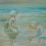 """Petites filles a la pèche"" 35x45 pastel sec"