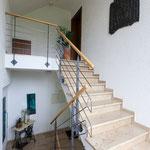 Geländer Edelstahl-stahl lackiert-Holzhandlauf