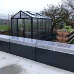 Garten und Freizeitprofi: 3 Stk. Hochbeete 195 x 77 x 77 cm mit Abdeckungen (Farbe: anthrazit)