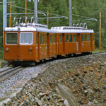 Juli 2020: Gornergrat Bahn zwischen Zermatt und dem Gornergrat.  (Aufnahme von 1987.)