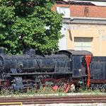 März 2019: Italienische Dampflok 740 002 im Bahnhof von Rimini. (Aufnahme vom Mai 2013.)