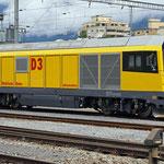 August 2017: RhB Diesellok Gmf 4/4 im Bahnhof Thusis (Aufnahme vom Juni 2017).