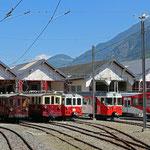 August 2020: Lokomotiven Parade im Bahnhofsdepot von Vernayaz. (Aufnahme vom Mai 2017.)