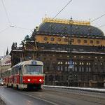 プラハの路面電車。